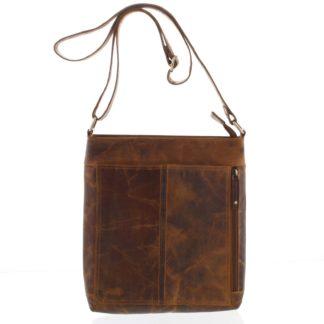 Přírodní hnědá pánská středně velká kožená taška - Tomas Duniy koňak