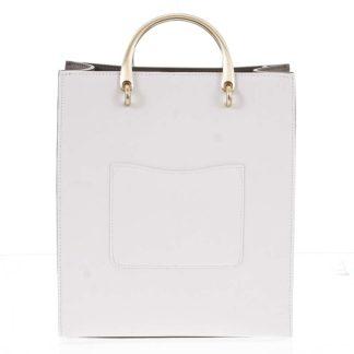 Luxusní dámská kožená bílo olivová kabelka do ruky - Hexagona Zenia bílá