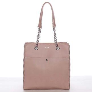 Luxusní a originální dámská lososově růžová kabelka přes rameno - David Jones Mishel růžová