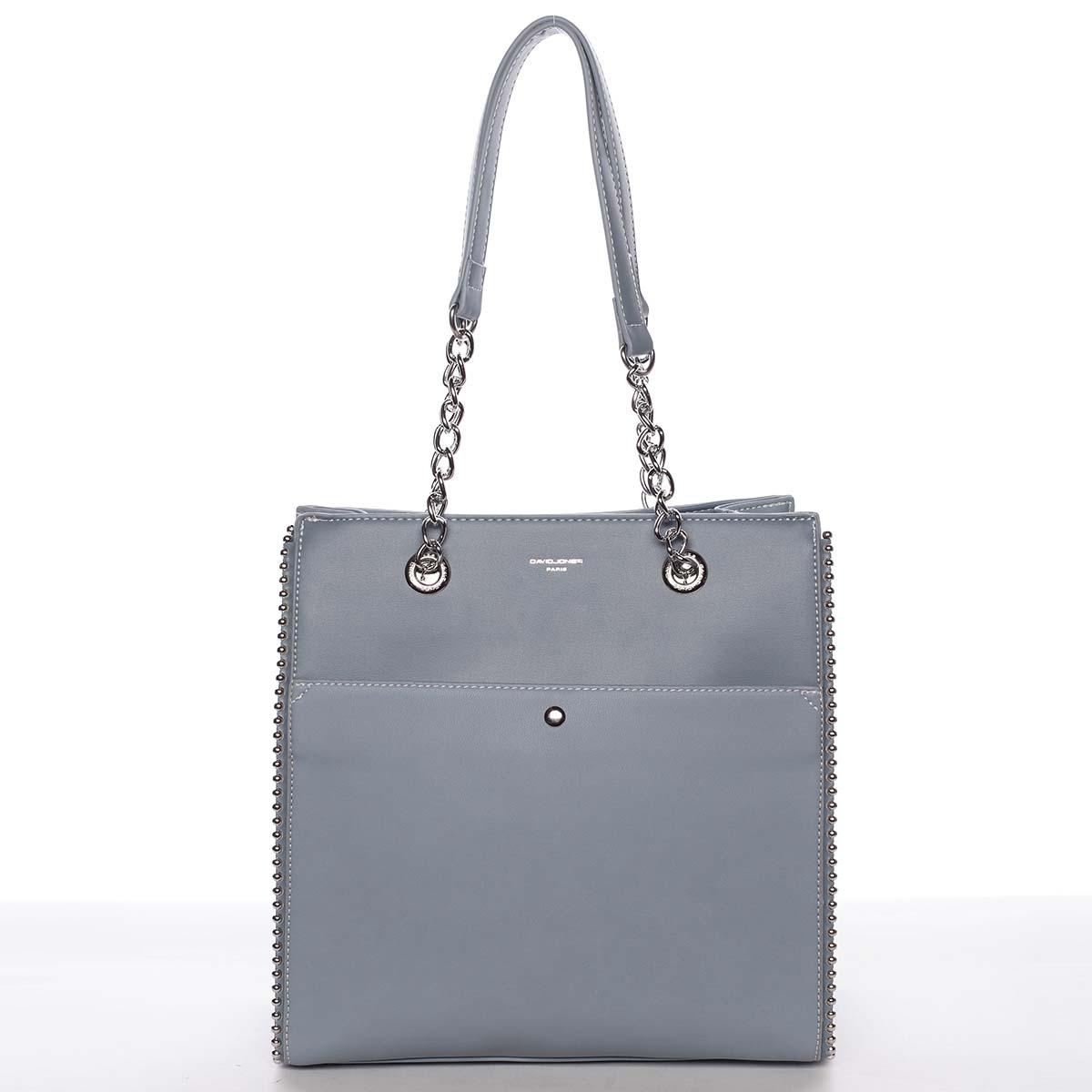 Luxusní a originální dámská pastelově modrá kabelka přes rameno - David Jones Mishel modrá