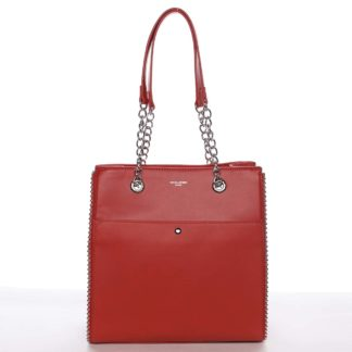 Luxusní a originální dámská červená kabelka přes rameno - David Jones Mishel červená