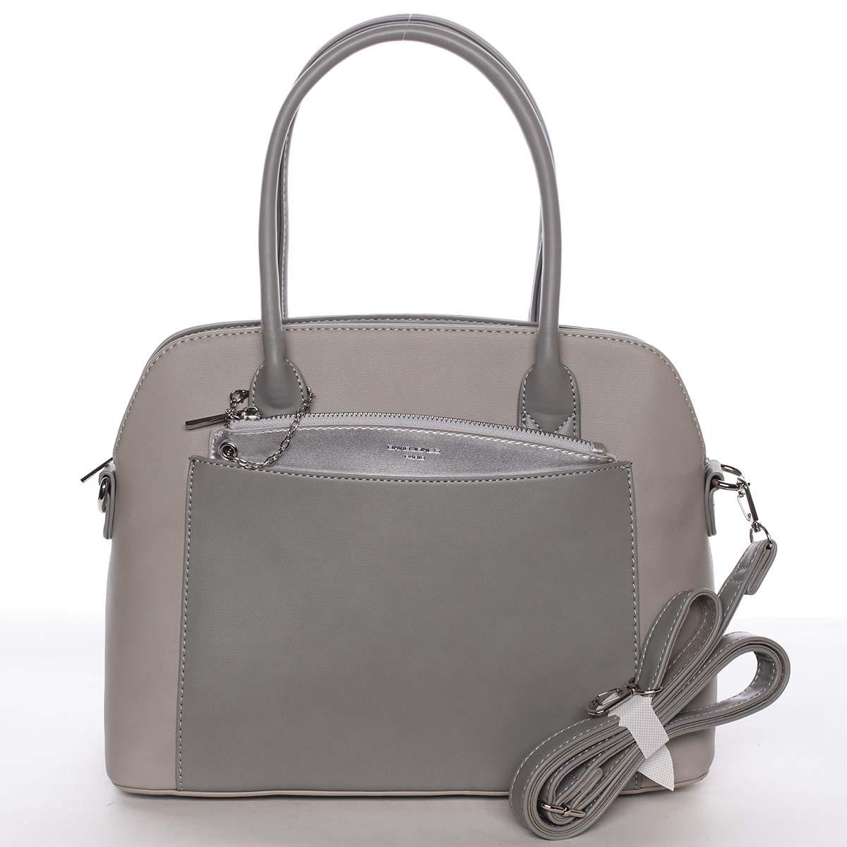 Exkluzivní dámská šedá zaoblená kabelka - David Jones Hiliery šedá