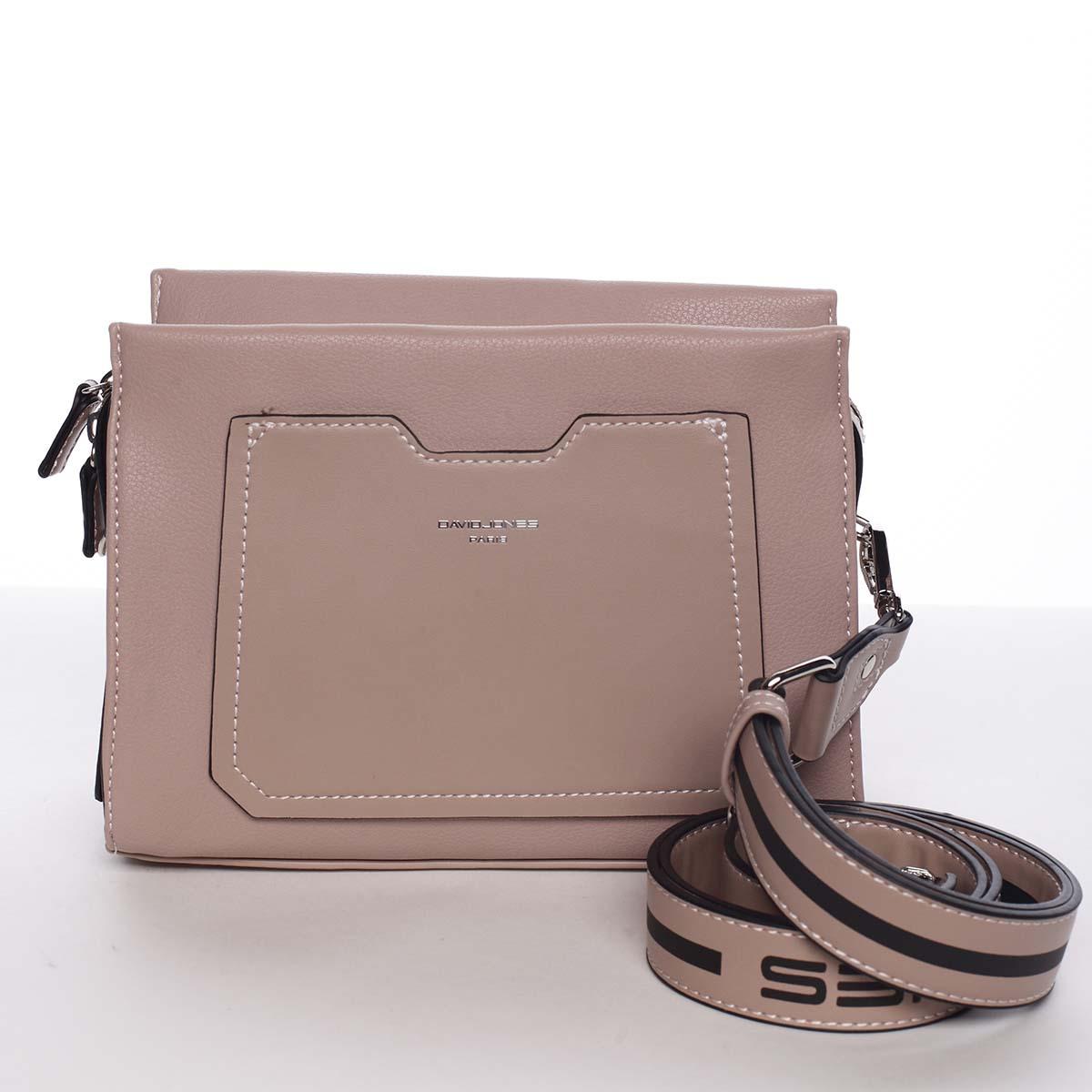 Dámská starorůžová crossbody kabelka s kapsičkou - David Jones Angeli růžová