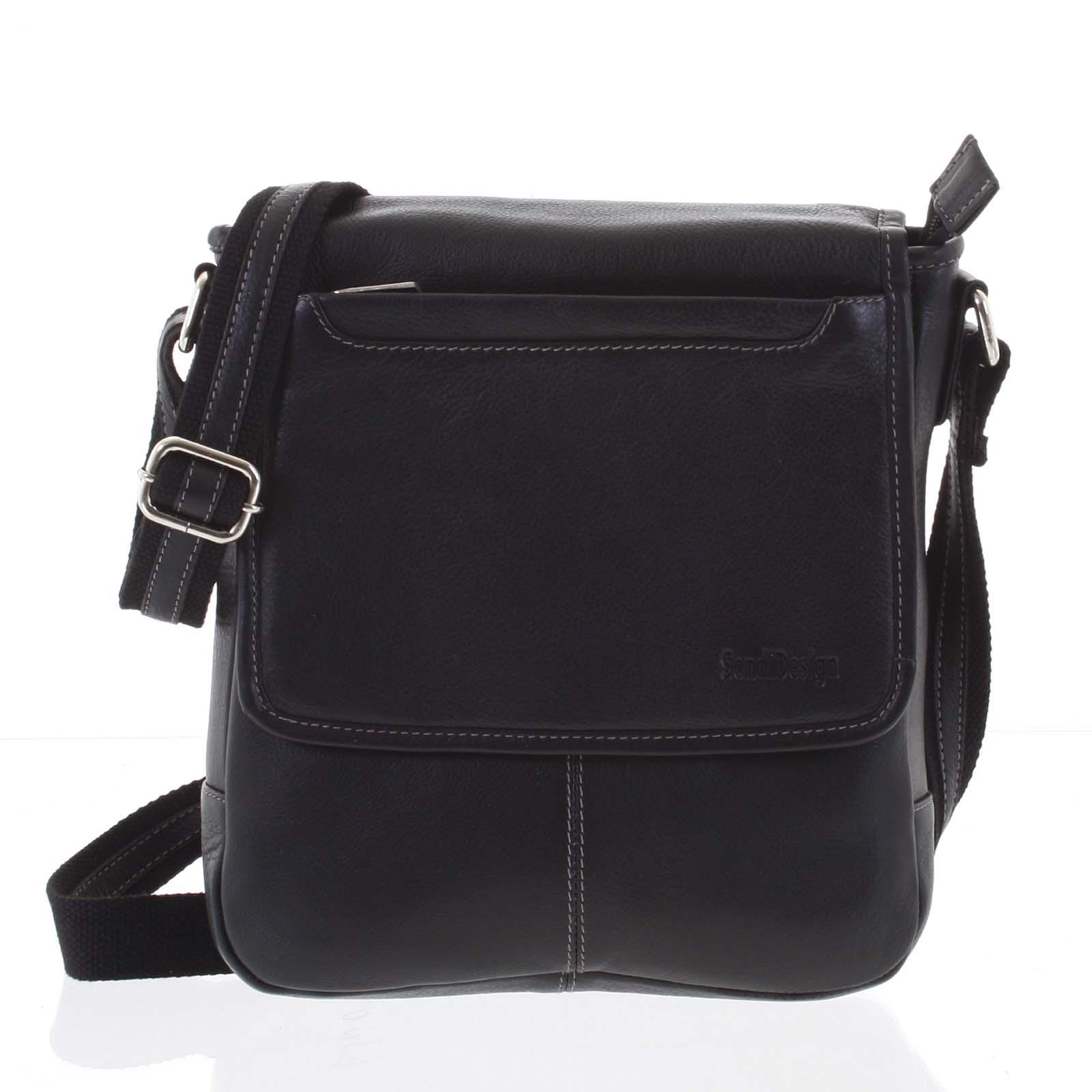 Stylová černá prošívaná pánská kožená taška - Sendi Design Luis černá