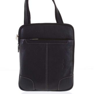 Černá prošívaná pánská kožená taška přes rameno - Sendi Design Hans černá