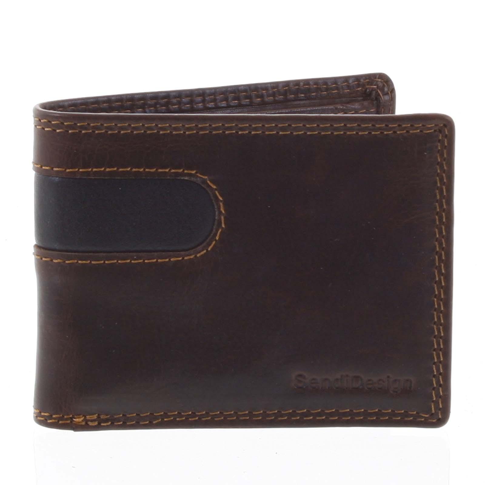 Pánská kožená peněženka na karty hnědá - SendiDesign Sinai hnědá