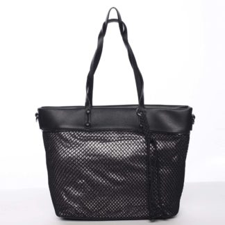 Jedinečná perforovaná dámská kabelka přes rameno černá - Maria C Karolay  černá
