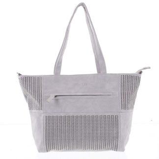 Elegantní perforovaná dámská kabelka přes rameno světle šedá - Beagles Lema  šedá