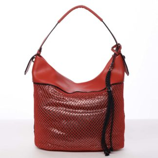 Velká perforovaná dámská kabelka přes rameno červená - Maria C Saghari červená