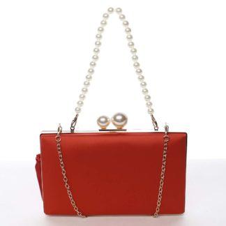 Luxusní dámské saténové psaníčko s perlami červené - Michelle Moon Seeland červená