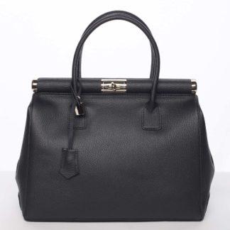 Módní originální dámská kožená kabelka do ruky černá - ItalY Hila černá