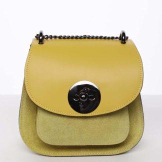 Malá dámská kožená polobroušená kabelka žlutá - ItalY Karishma žlutá