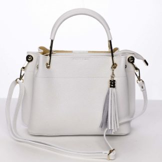 Exkluzivní dámská kožená kabelka bílá - ItalY Maarj bílá