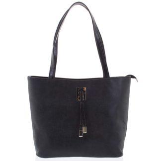 Velká černá vzorovaná dámská kabelka přes rameno - Ellis Huyen černá
