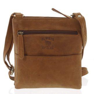 Pánská kožená taška na doklady světle hnědá - WILD Lukeny koňak
