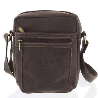 Pánská kožená crossbody taška tmavě hnědá - WILD Abilio hnědá