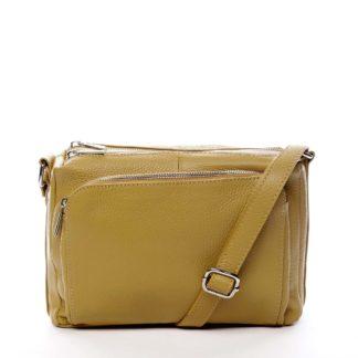 Dámská kožená crossbody kabelka žlutá - ItalY Bandit žlutá