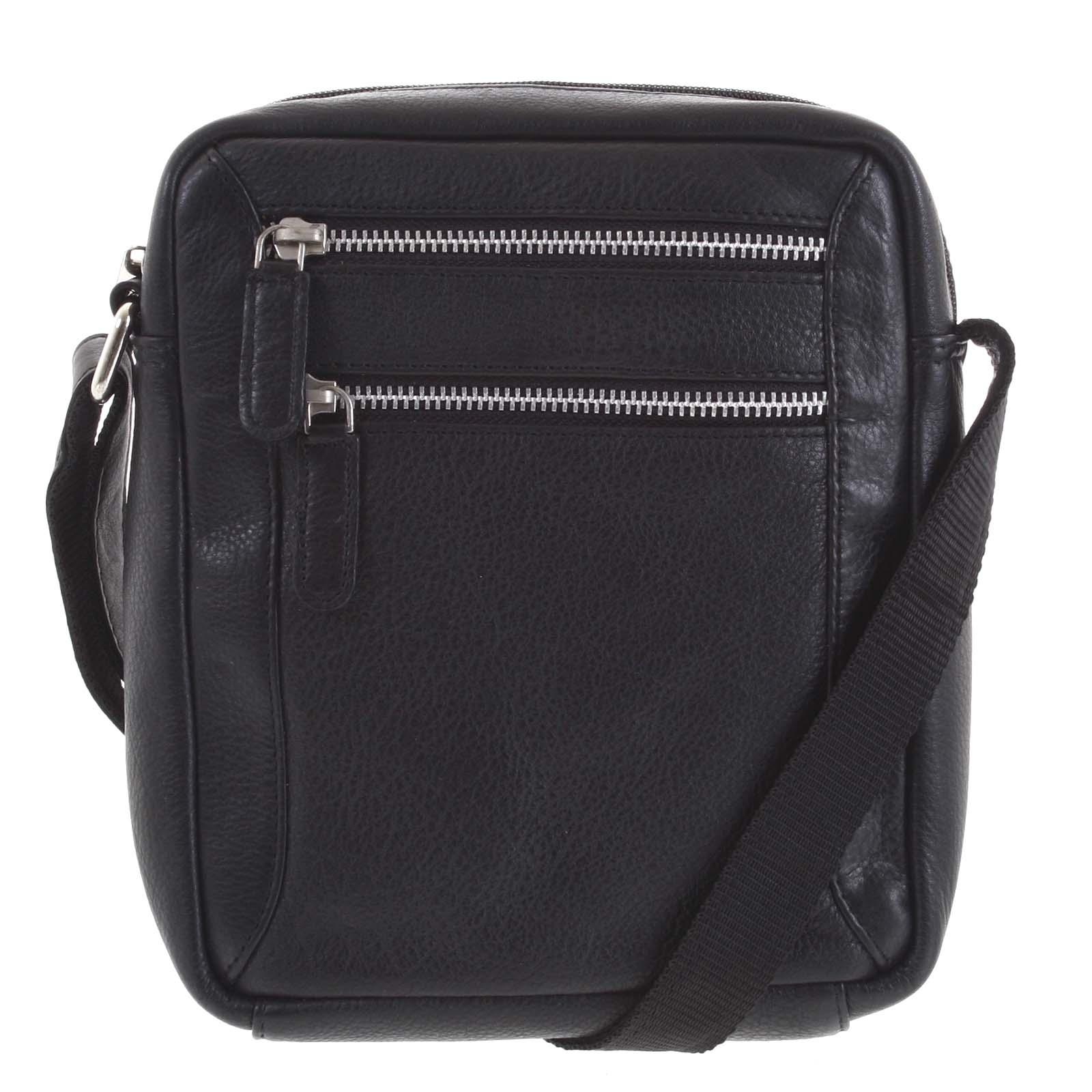 Pánská kožená crossbody taška černá - Tomas Mikael černá
