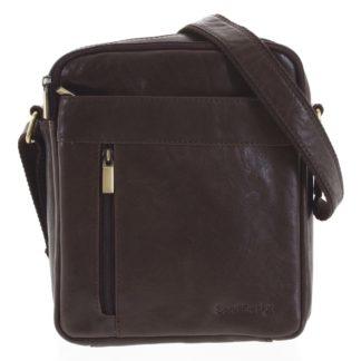 Pánská kožená taška přes rameno tmavě hnědá - SendiDesign Lennon hnědá