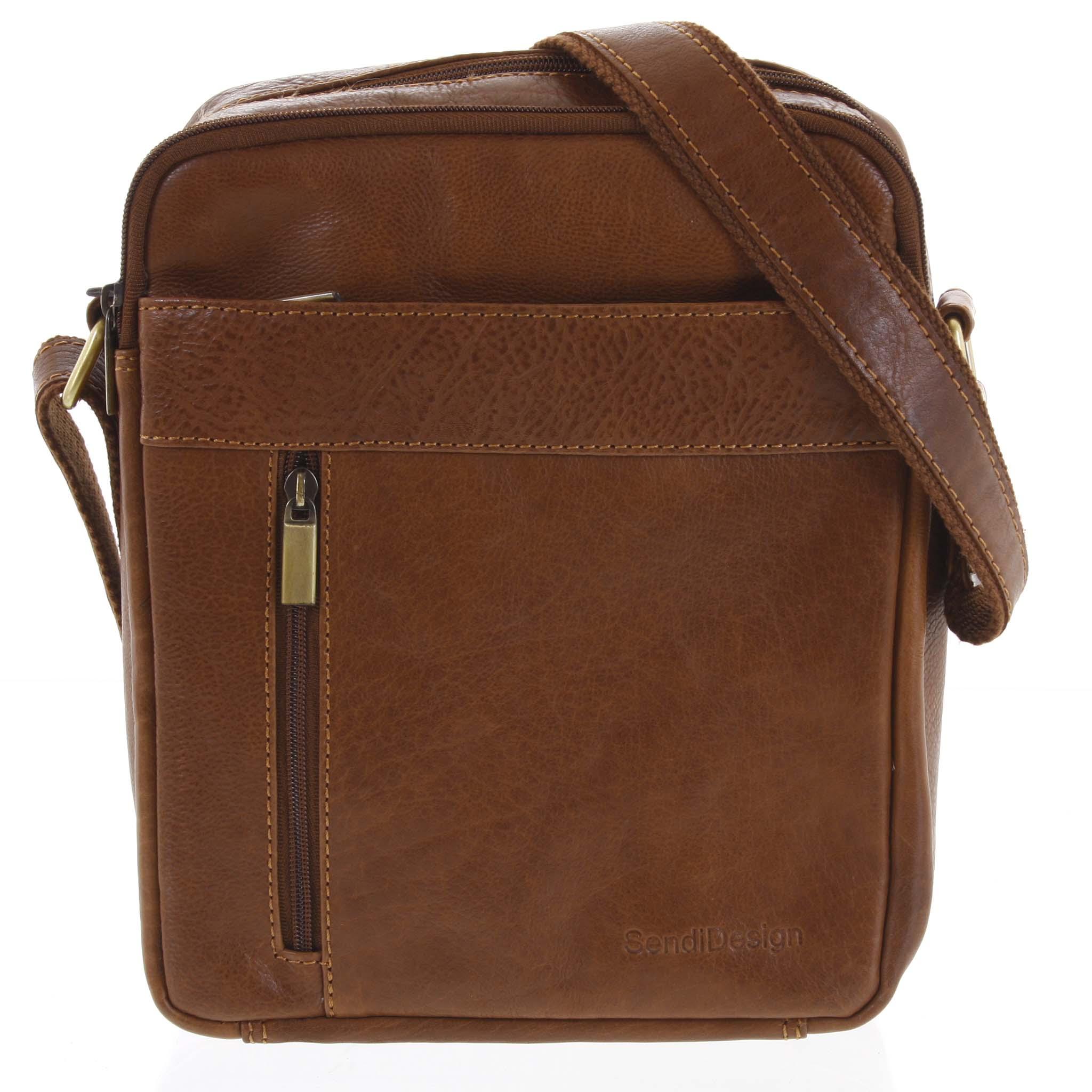 Pánská kožená taška přes rameno hnědá - SendiDesign Lennon hnědá