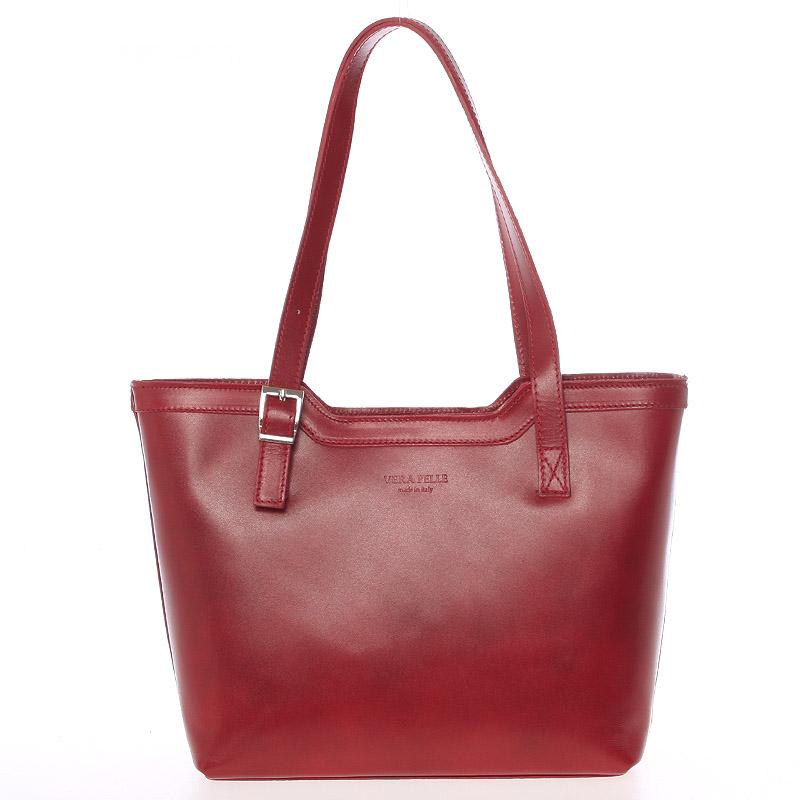 Červená elegantní kožená kabelka ItalY Melisa červená