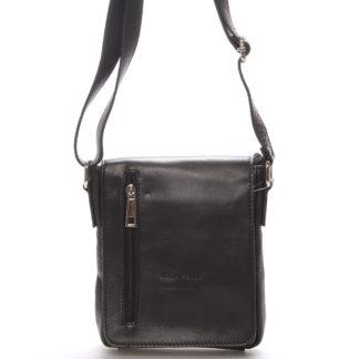 Módní menší černá kožená kabelka přes rameno - ItalY Leroi černá