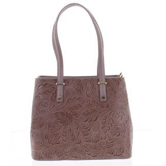 Exkluzivní dámská kožená kabelka tmavě růžová - ItalY Logistilla růžová