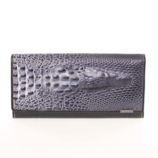 Jedinečná černá pololakovaná peněženka - Loren Croko černá