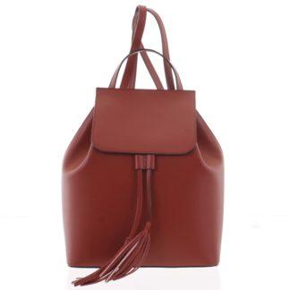 Luxusní dámský batoh tmavě červený kožený - ItalY Adelpha červená