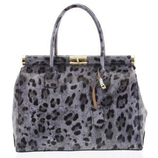 Módní originální dámská kožená kabelka do ruky šedá - ItalY Hila Jaguar šedá