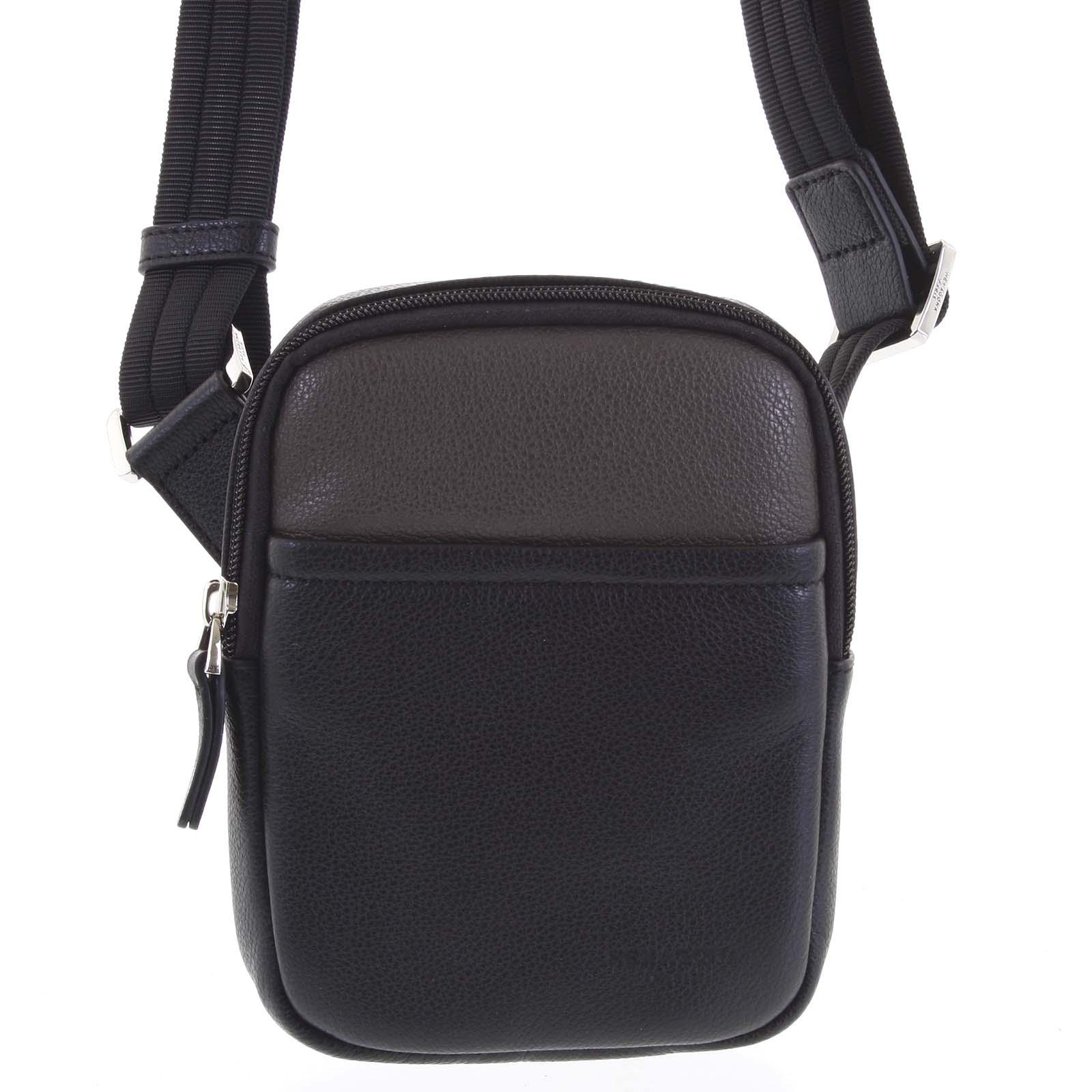 Pánská kožená taška na doklady černá taupe - Hexagona Monday taupe