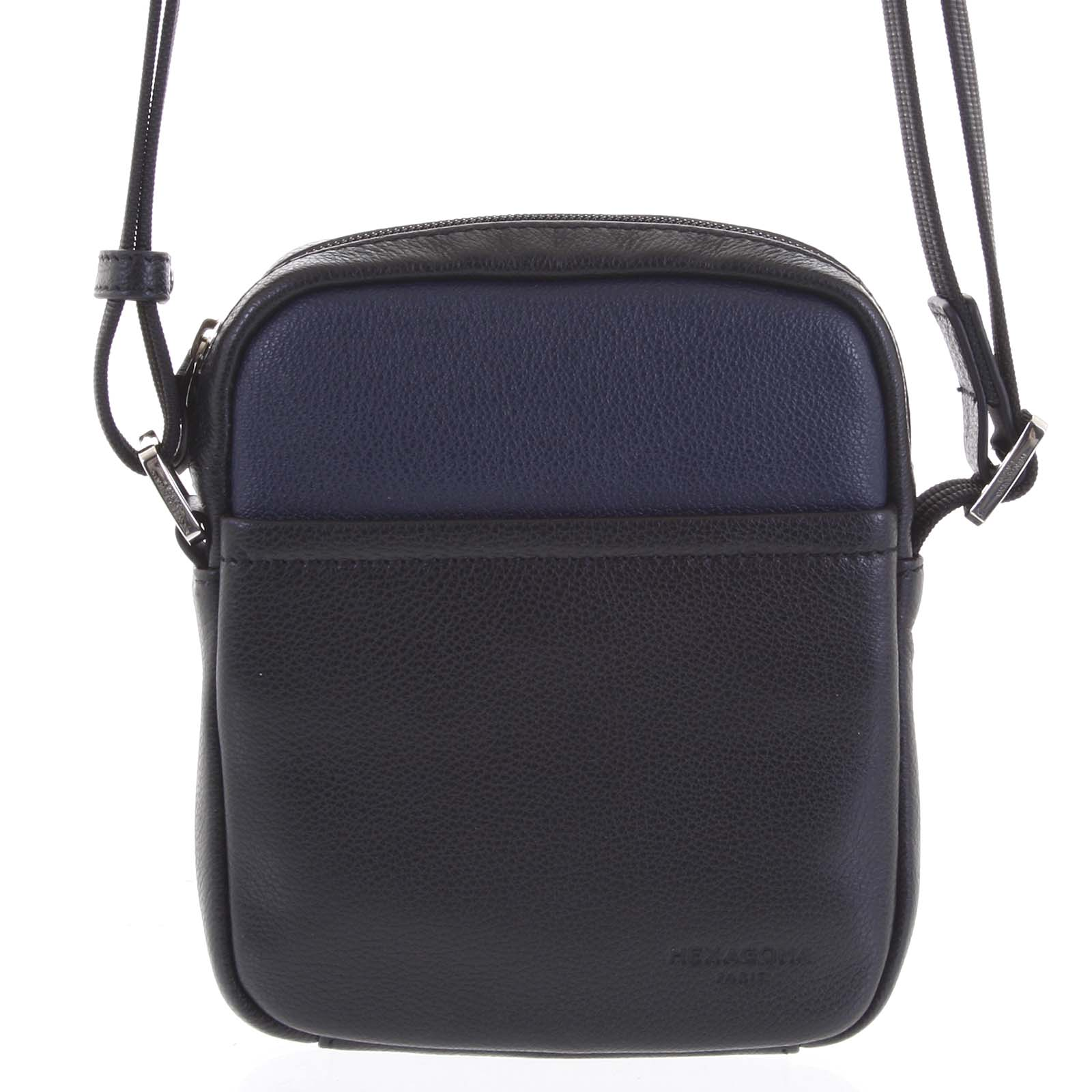 Pánská kožená taška na doklady černo modrá - Hexagona Wednesday modrá