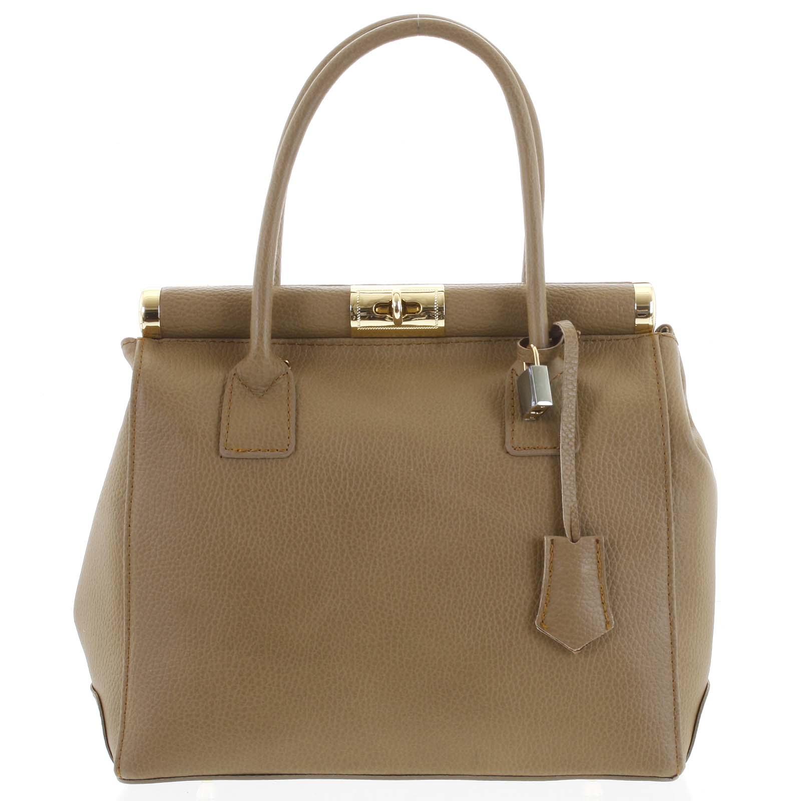 Luxusní dámská kožená kabelka do ruky béžová - ItalY Hyla béžová
