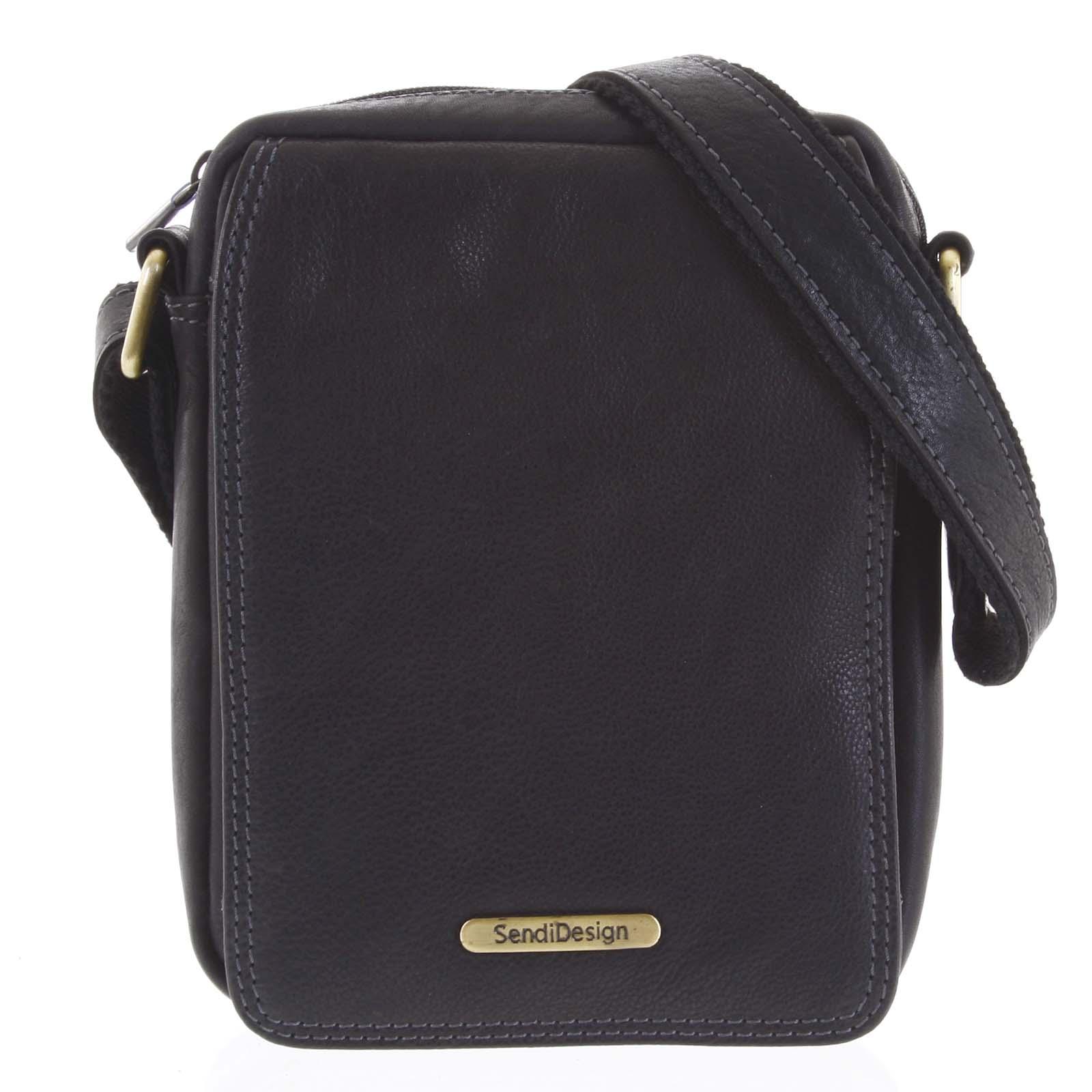 Pánská kožená taška na doklady přes rameno černá - SendiDesign Dumont New černá