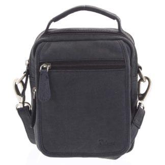 Pánská kožená taška přes rameno černá - Delami Gabo S černá