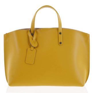 Dámská kožená kabelka hořčicová - ItalY Jordana žlutá
