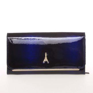 Stylová kožená lakovaná dámská peněženka tmavě modrá - PARIS 74110DSHK modrá