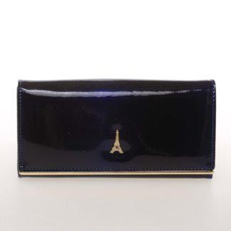 Jedinečná kožená lakovaná dámská peněženka modrá - PARIS 64003DSHK modrá