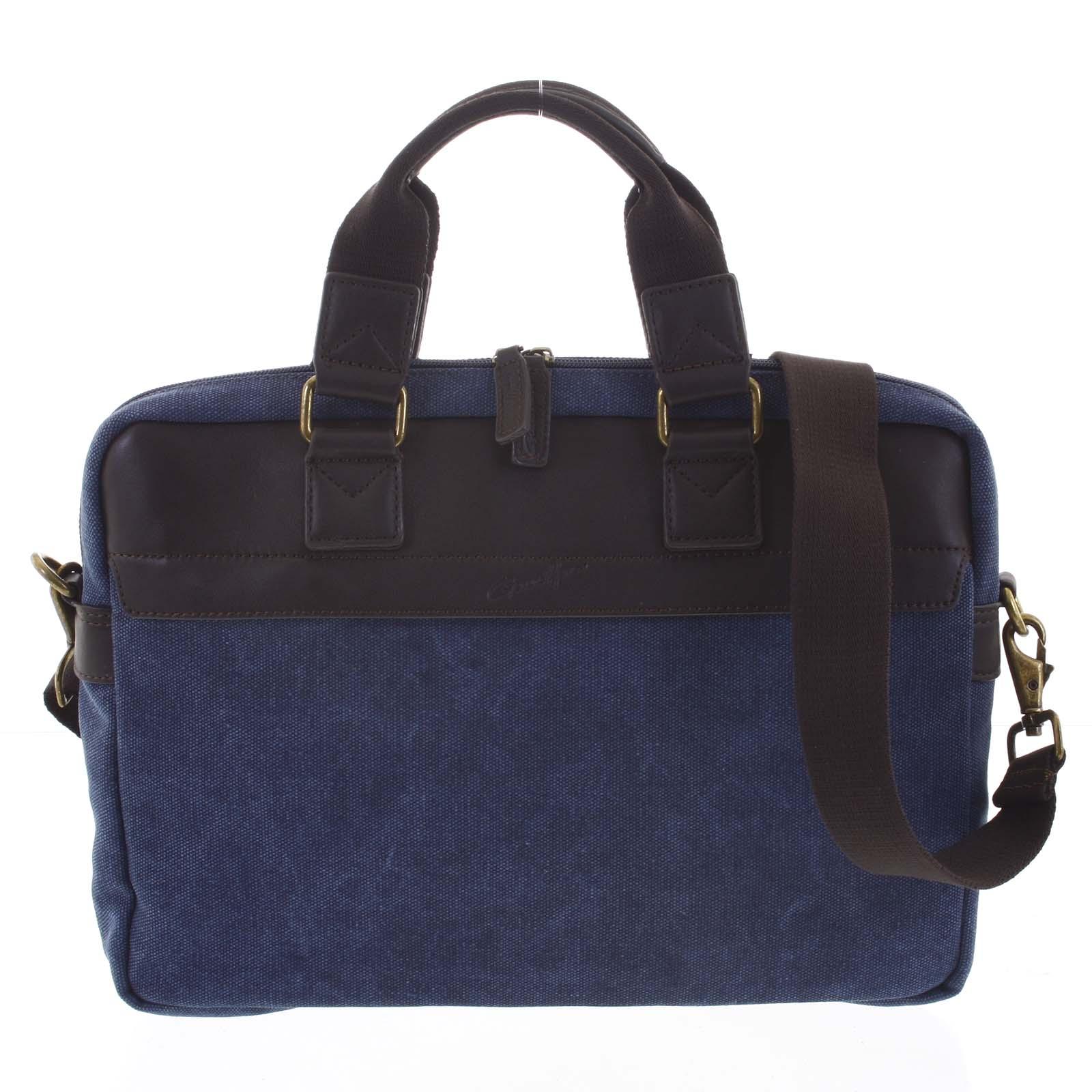Luxusní pánská taška s koženými detaily modrá - Gerard Henon Lonel modrá