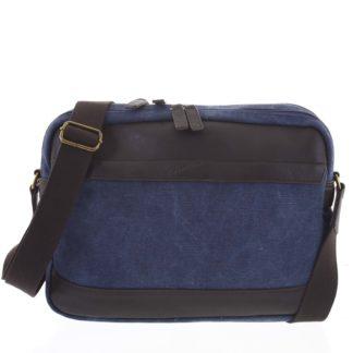 Moderní pánská taška s koženými detaily modrá - Gerard Henon Telfor modrá