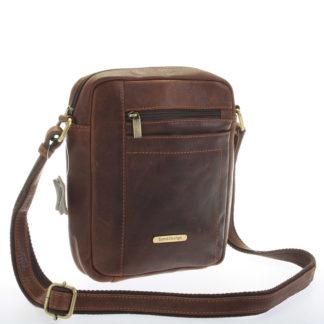 Perfektní pánská hnědá kožená taška - Sendi Design Halir hnědá