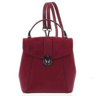 Dámský originální kožený tmavě červený batůžek/kabelka - ItalY Acnes červená