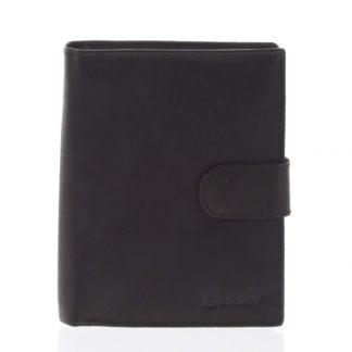 Větší pánská černá kožená peněženka se zápinkou - Diviley Heelal černá