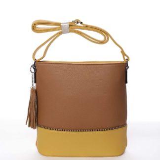 Trendy dámská crossbody kabelka hnědá - Dudlin Adriana hnědá
