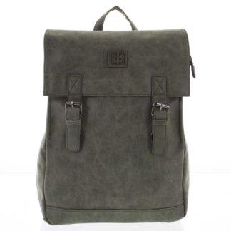 Módní stylový střední batoh olivově zelený - Enrico Benetti Traverz   zelená
