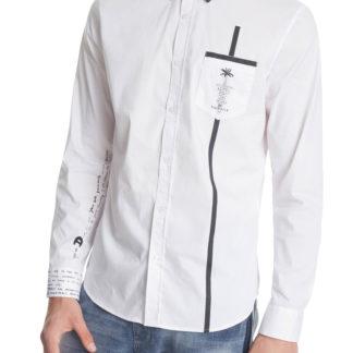 Desigual bílá pánská košile Cam Saniel s kapsičkou