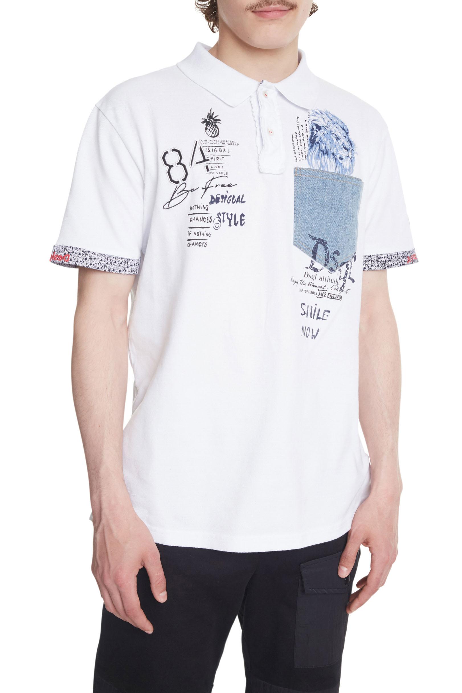 Desigual bílé pánské tričko Polo Brendan