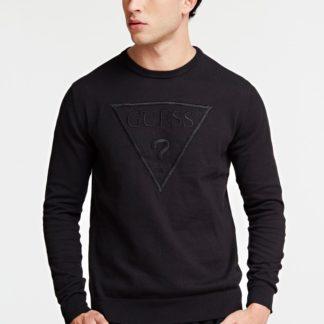 Guess černý svetr Triangle Logo Sweater