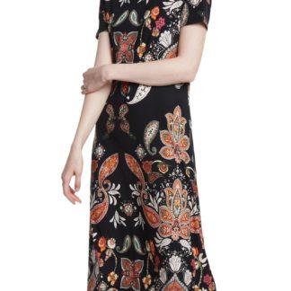 Desigual midi šaty Vest Misuri s barevnými motivy