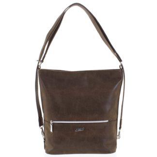 Módní dámská kabelka batoh hnědá se vzorem - Ellis Patrik hnědá